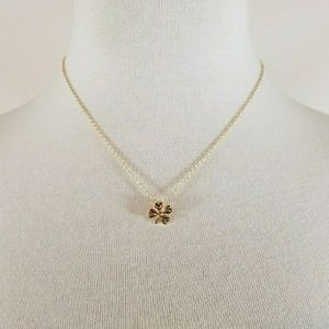 Dainty four leaf clover wish necklace lucky gold